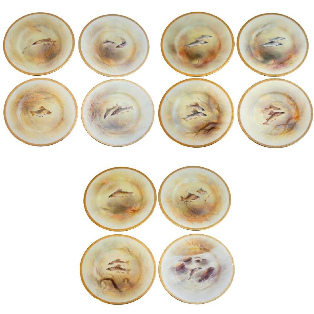 12 English Royal Doulton for Tiffany China Fish Plates