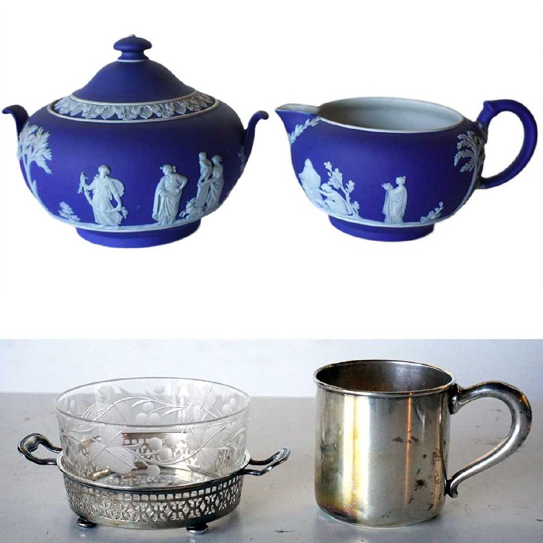 2 pc Wedgwood Jasperware, Silver Baby Cup & Butter Dish