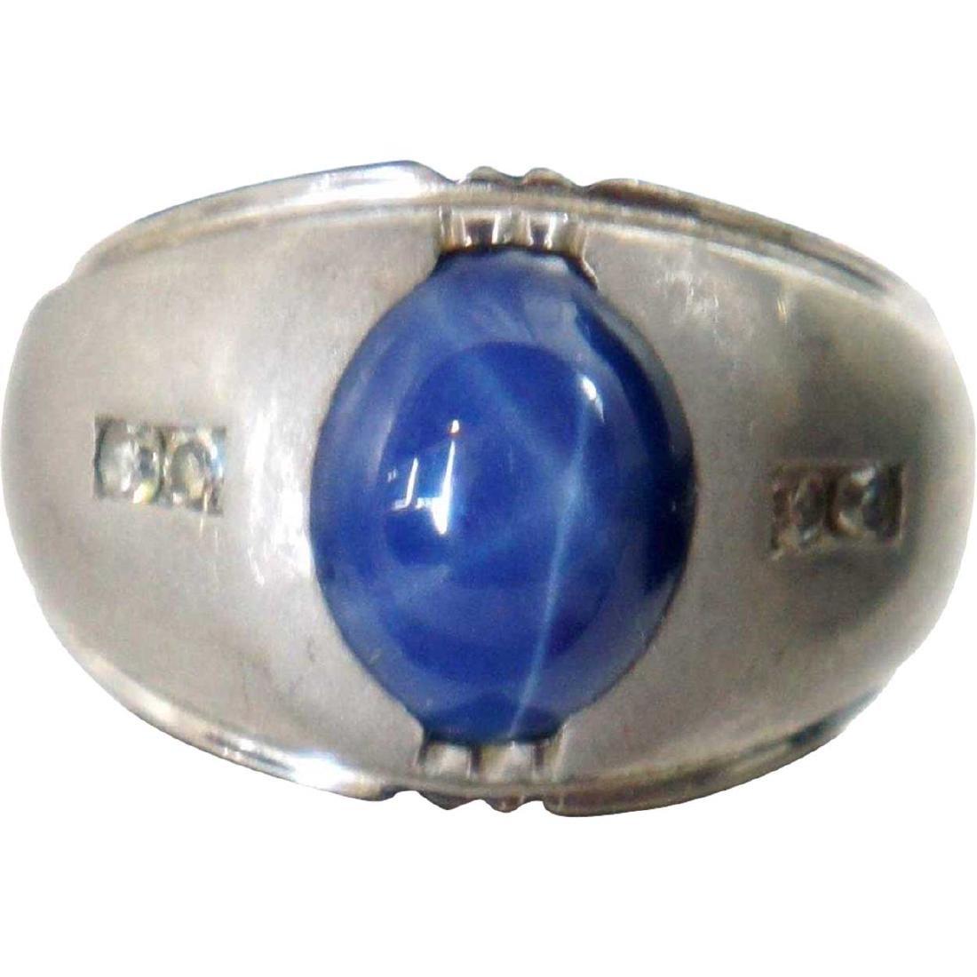 Vintage 14k White Gold, Diamond Blue Star Sapphire Ring