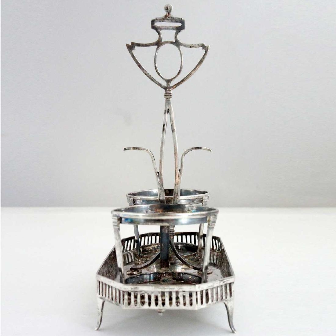 23 Antique Silver & Coin Silver Flatware & Cruet Stand - 3