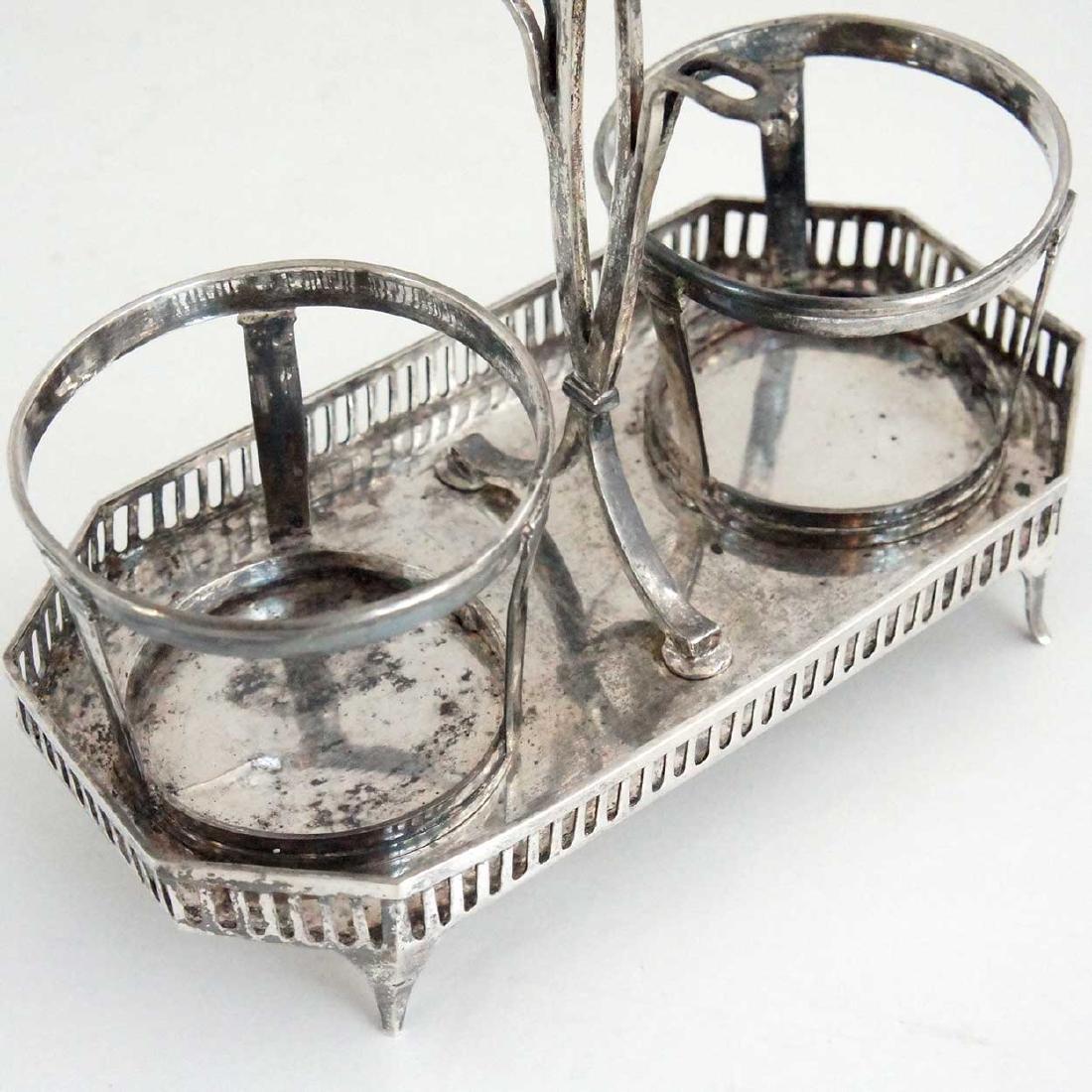 23 Antique Silver & Coin Silver Flatware & Cruet Stand - 4