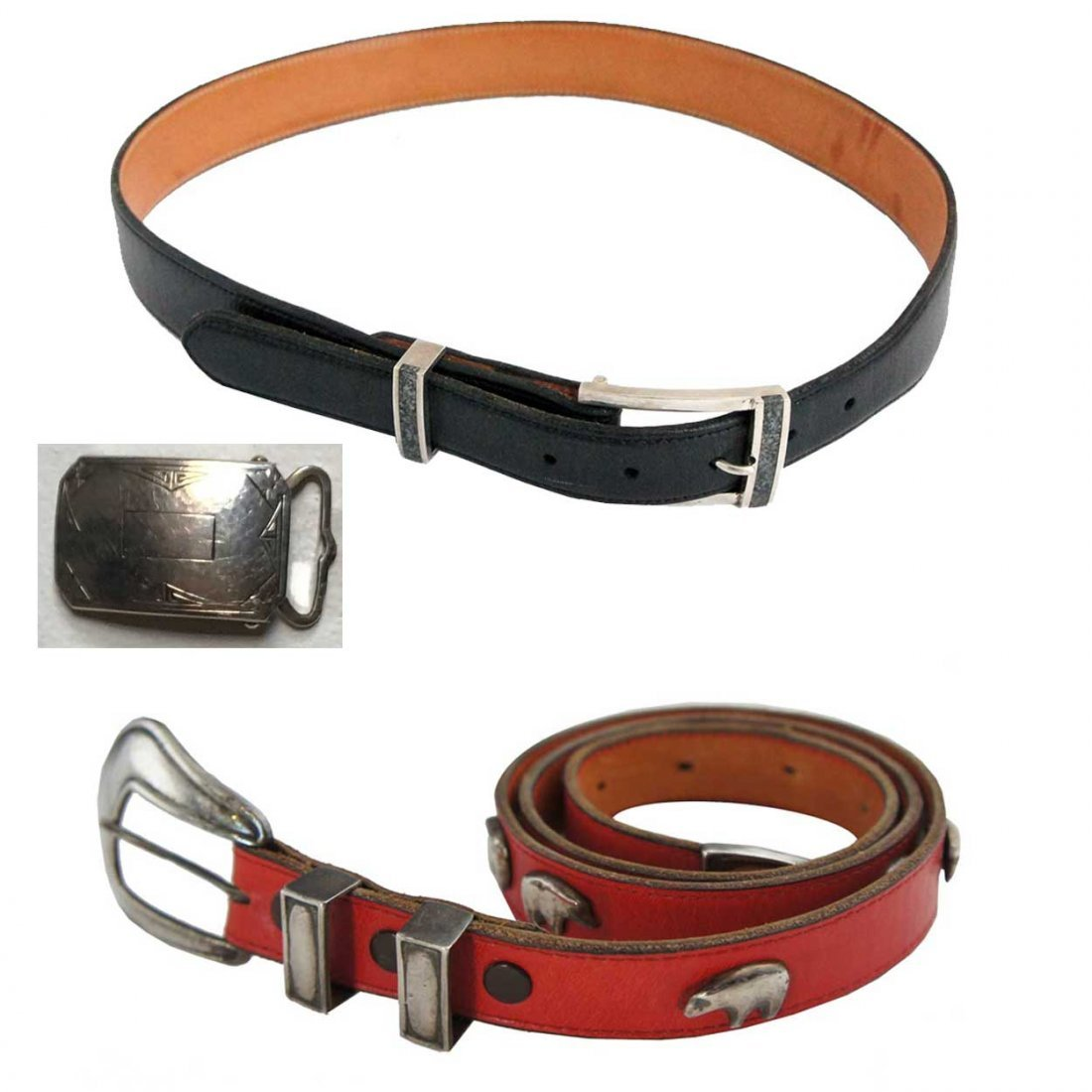 Two Vintage Leather and Sterling Silver Belts