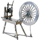 Dutch Silver Miniature Model of a Spinning Wheel