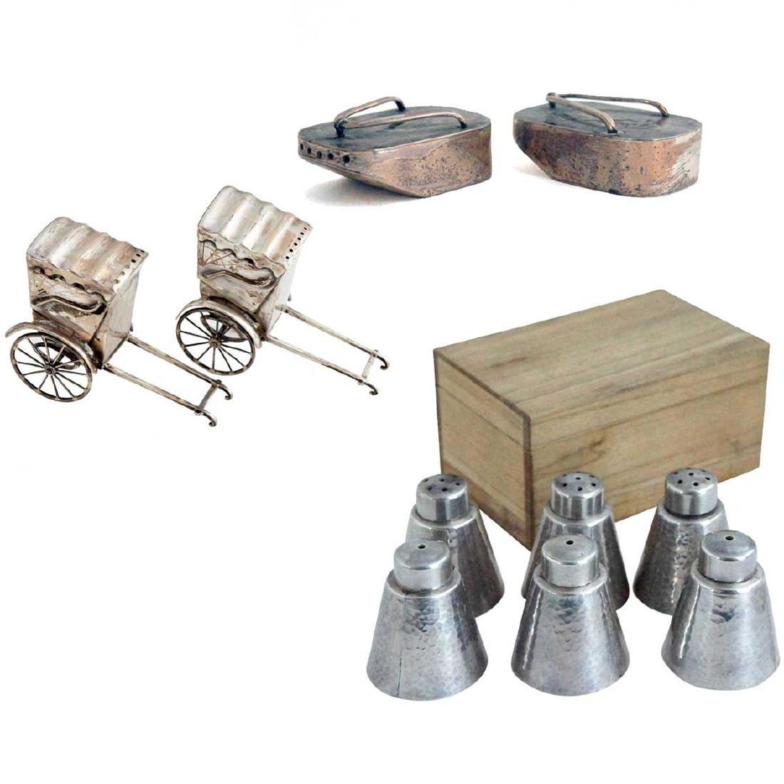 Five Pairs of Japanese Silver Salt and Pepper Shakers