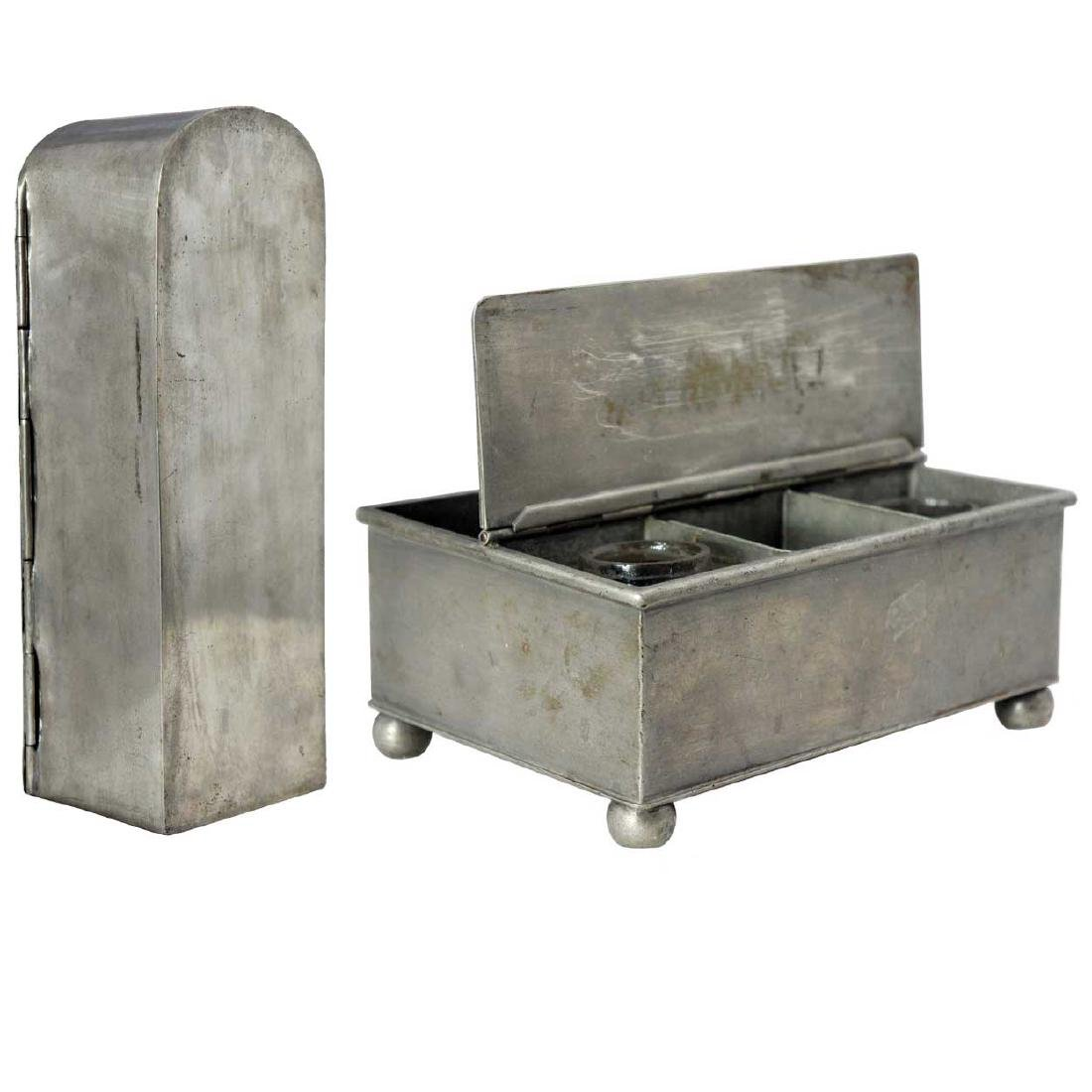 Two Antique English Pewter Desk Boxes