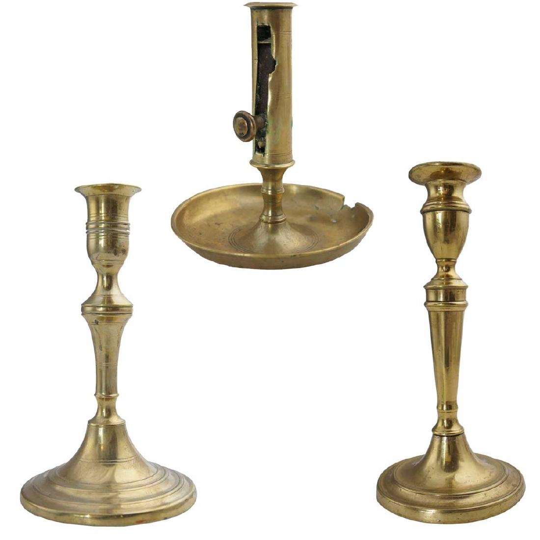 Three Antique Brass Candlesticks