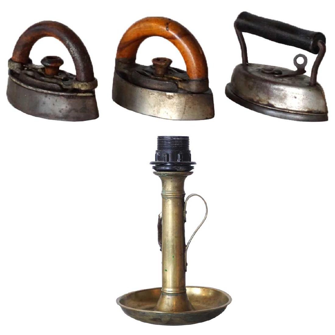Antique Brass Candlestick Lamp & 3 Clothes Irons