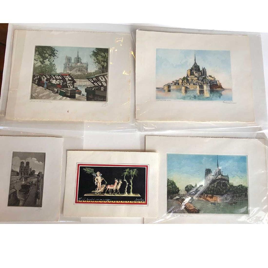 5 Signed Vintage Hand Colored Etchings