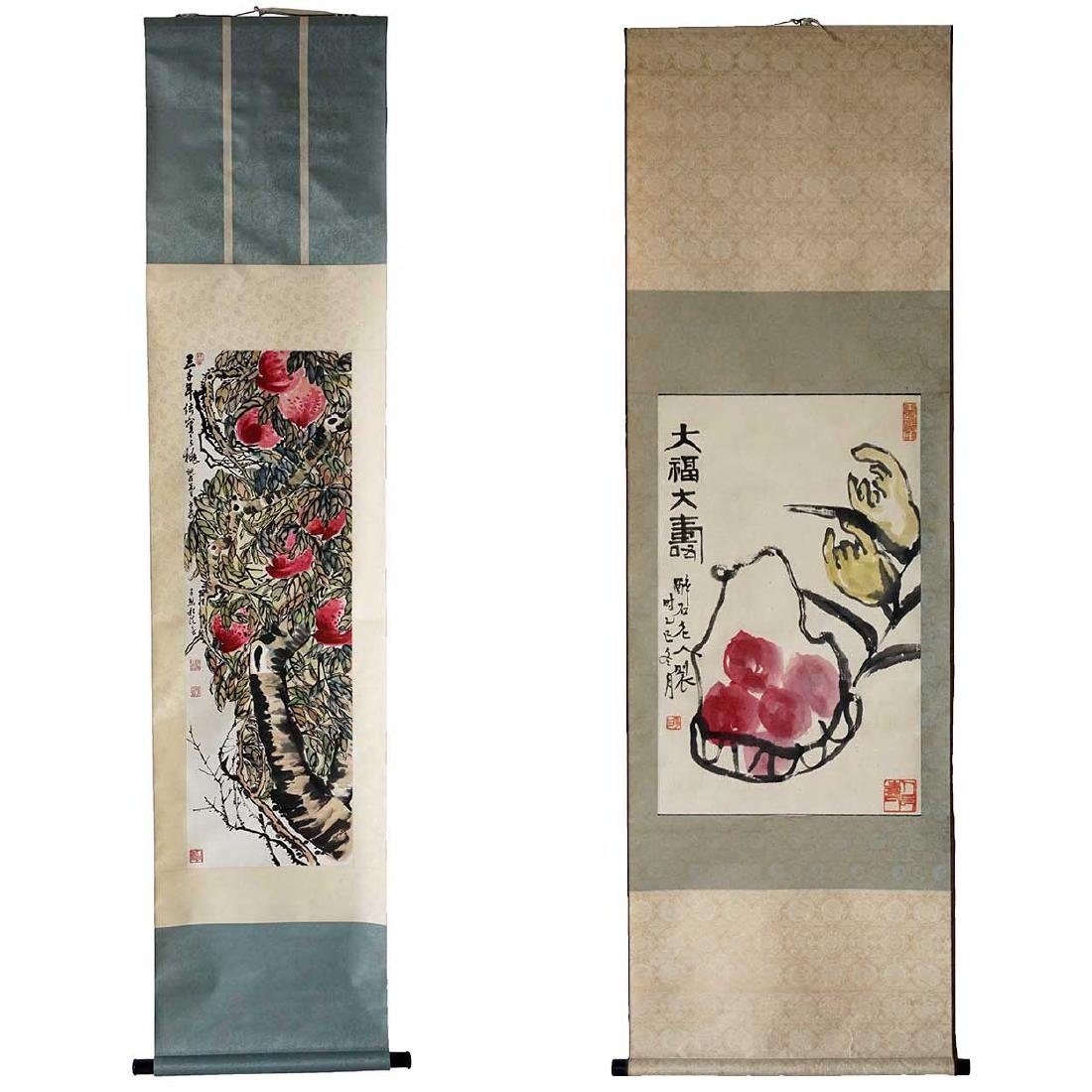 2 Vintage Japanese Vertical Scroll Paintings of Fruit