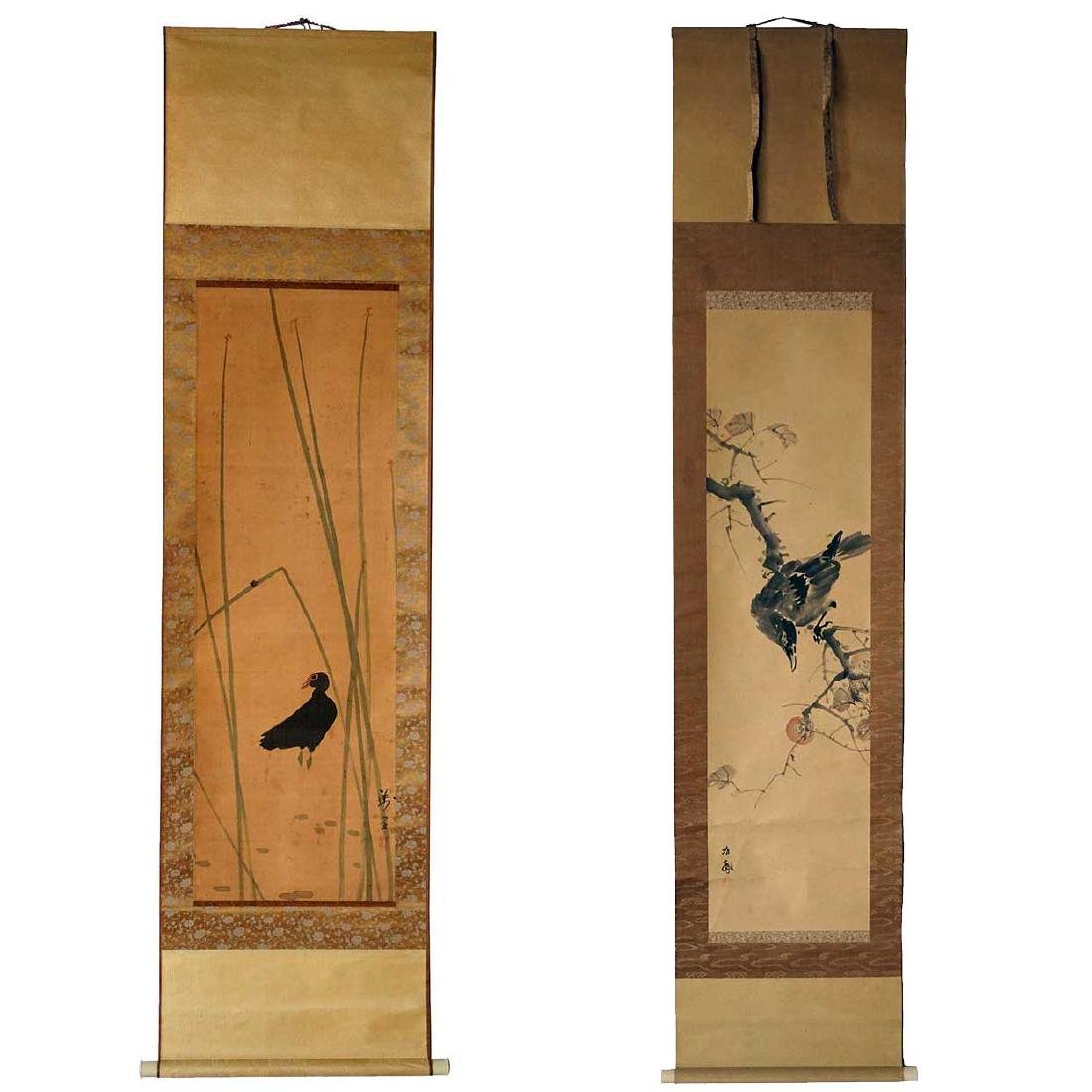 2 Vintage Japanese Hanging Scroll (Kakejiku) Paintings