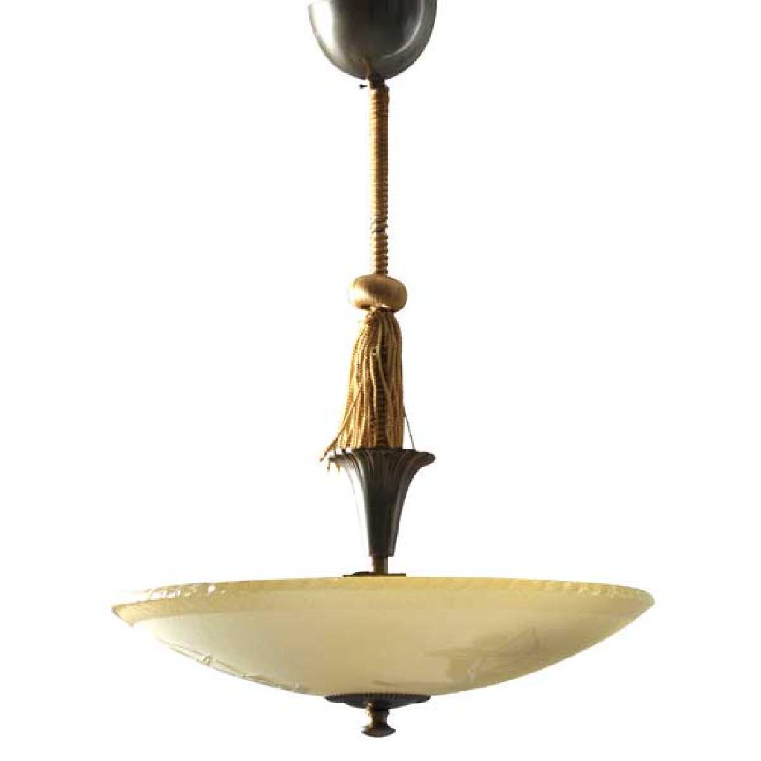 Swedish Art Deco Bronze and Glass Ceiling Light