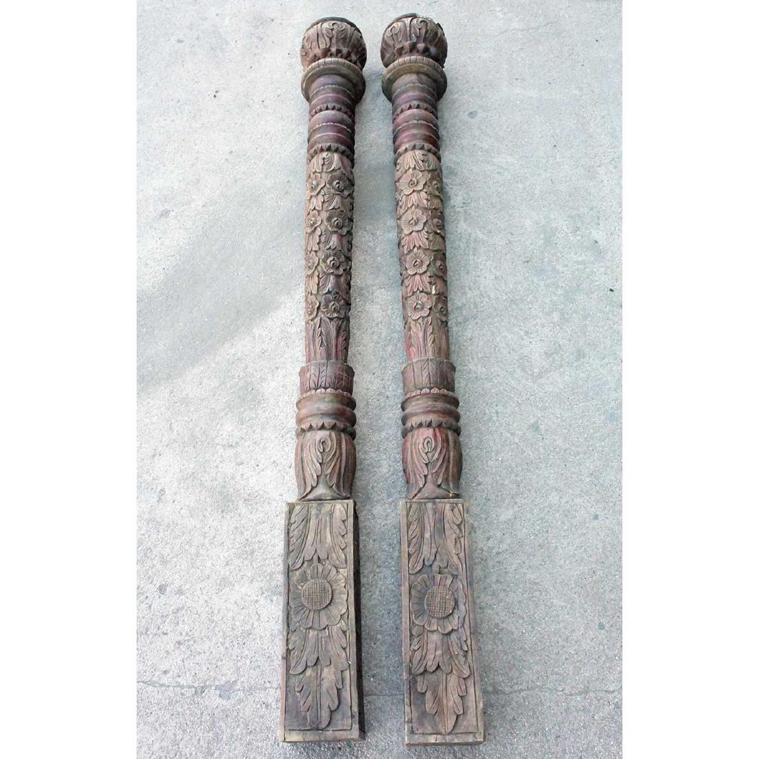 Pair of Reproduction Indian Teak Columns