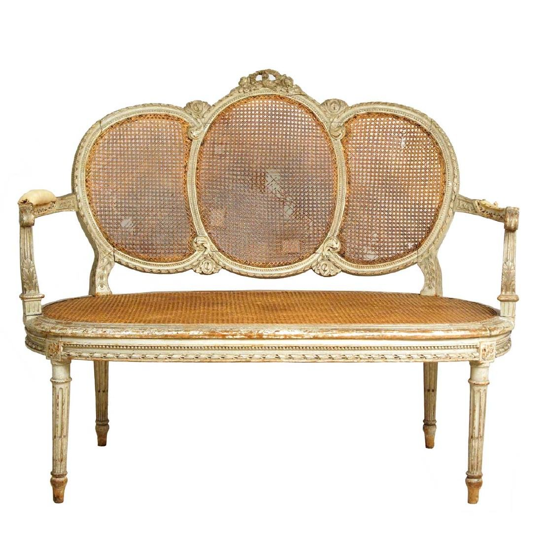 French Louis XVI Revival Painted Caned Chairback Settee