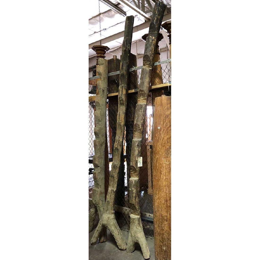 2 Mexican Huastec Pueblo Granary (Kiva) Log Ladders