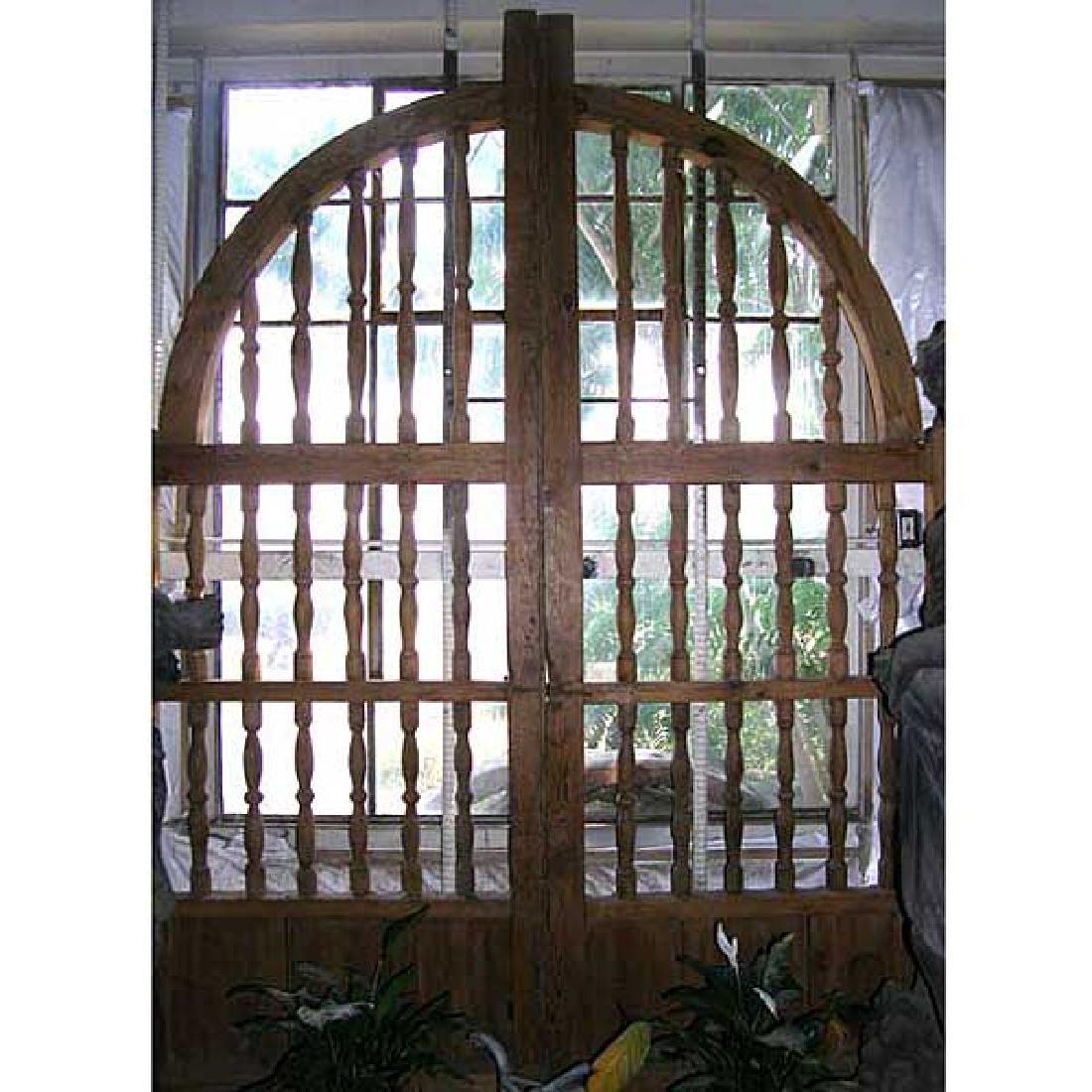 Large Mexican Pine Hacienda Arched Double Door Gates
