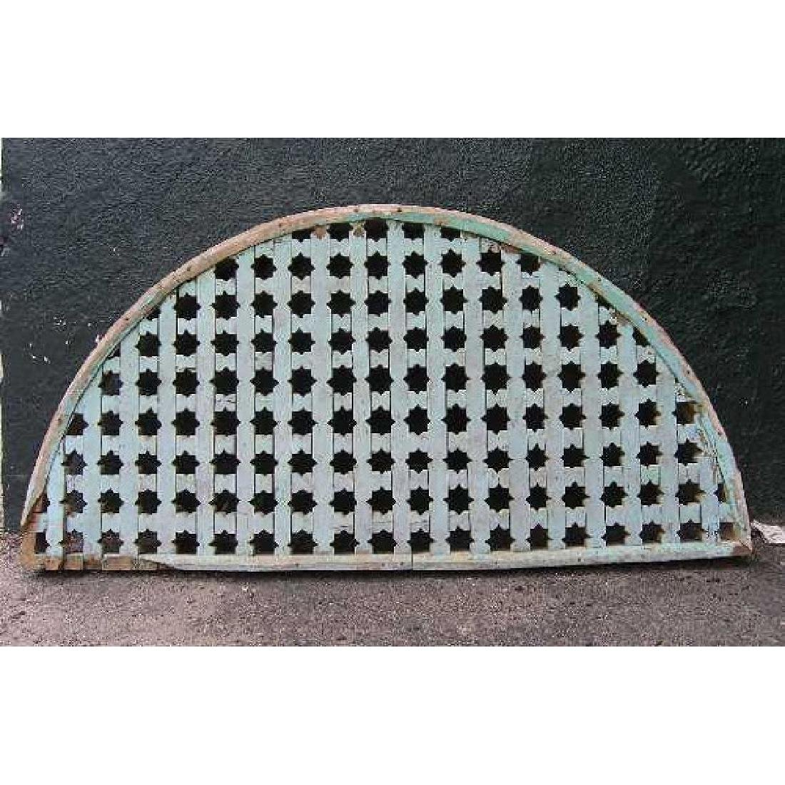 Moorish Painted Pine Fretwork Arched Transom Grille