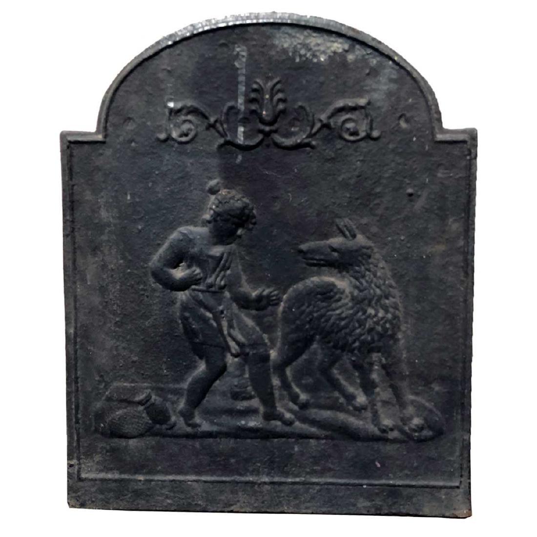 German 18th century Cast Iron Fireplace Fireback