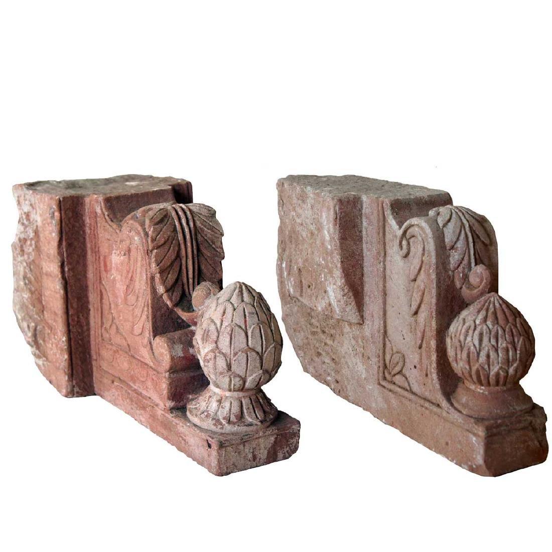 Pair Indian Red Sandstone Architectural Brackets