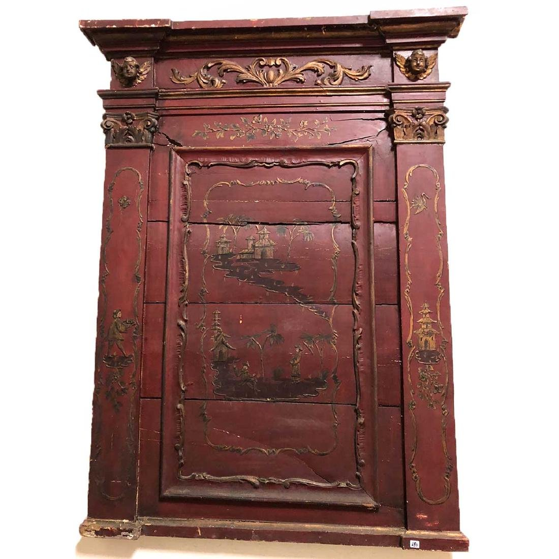 Continental Red Painted and Gilt Chinoiserie Pine Wall