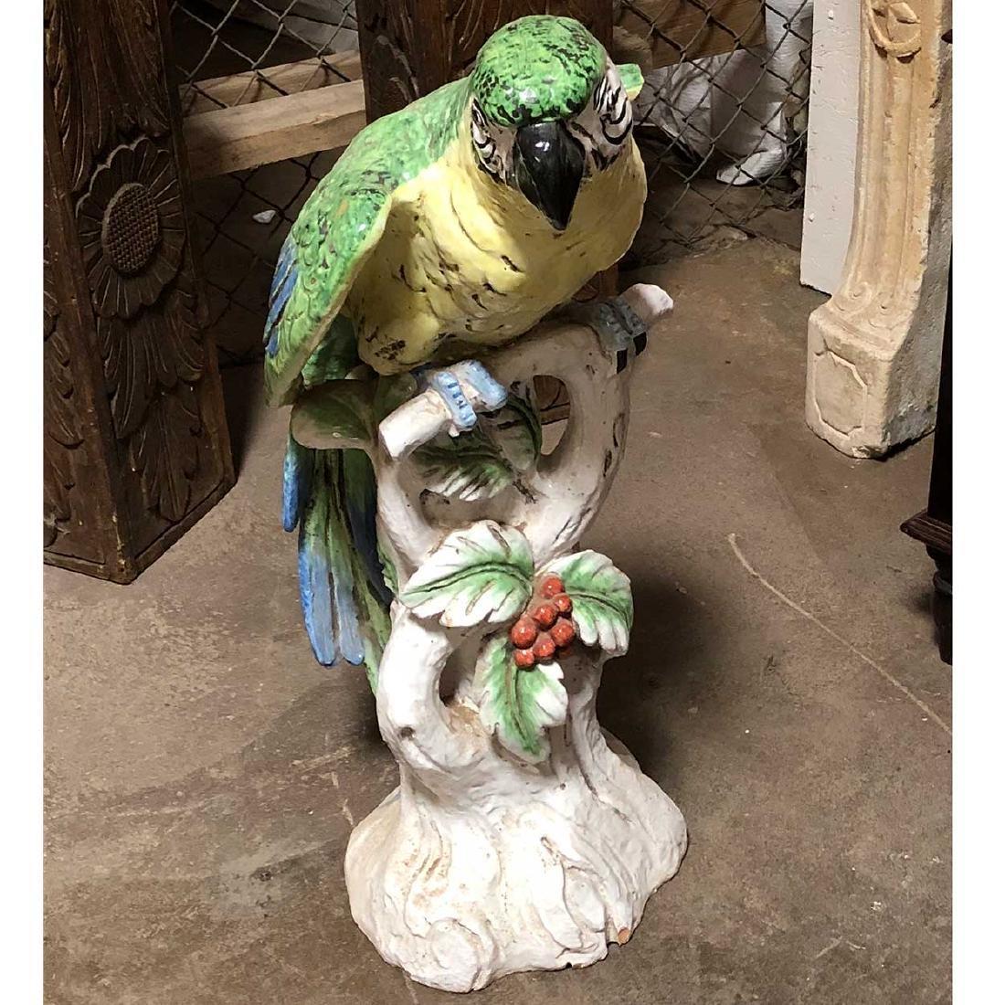 Large Italian Meiselman Imports Majolica Pottery Parrot