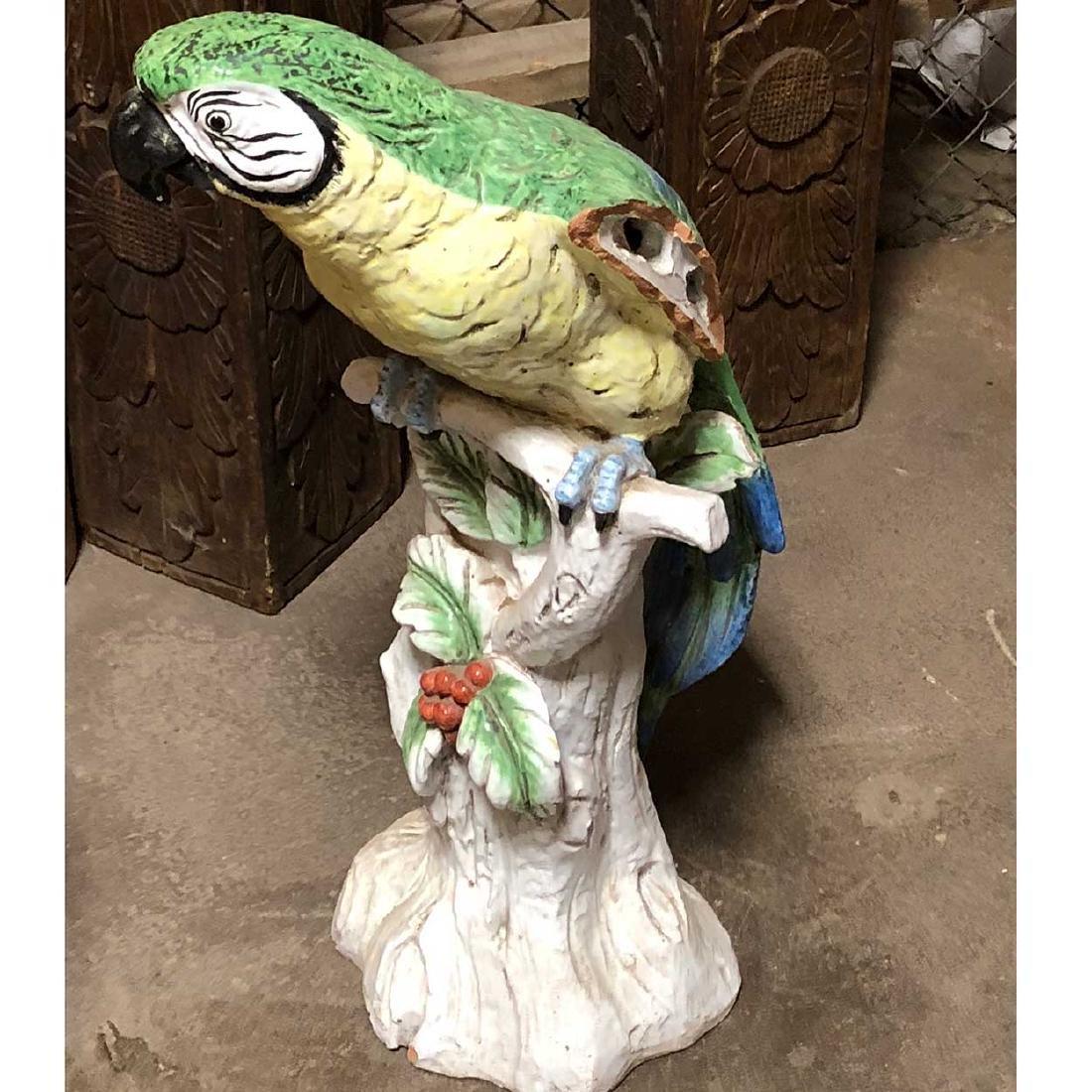 Large Italian Meiselman Imports Majolica Pottery Parrot - 2