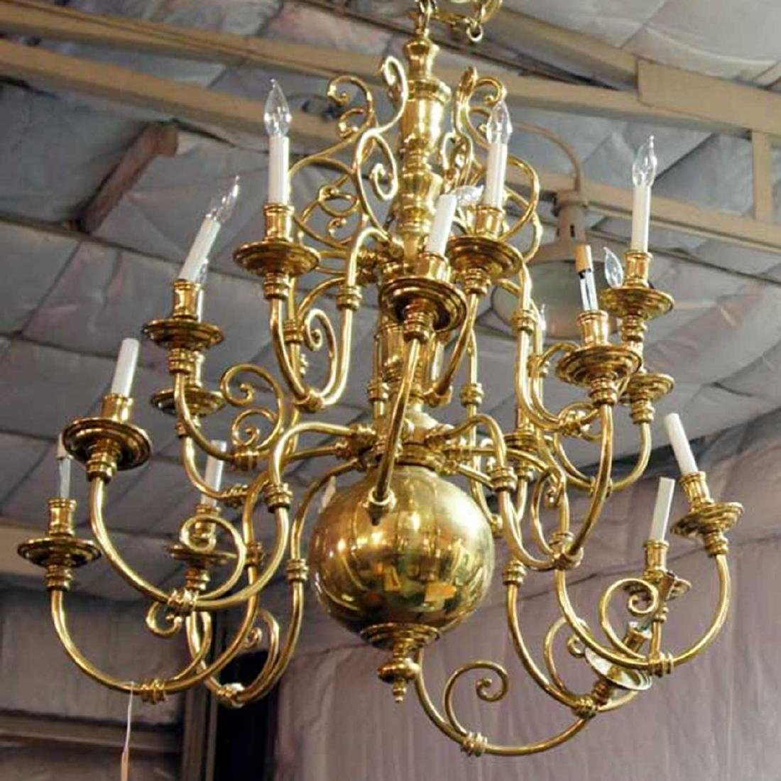 American Colonial Revival Brass 16-Light Chandelier