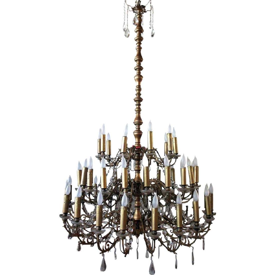 Large French Brass and Crystal 50-Light Chandelier