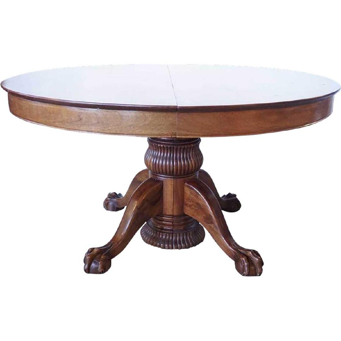 American Victorian Mahogany Pedestal Oval Dining Table