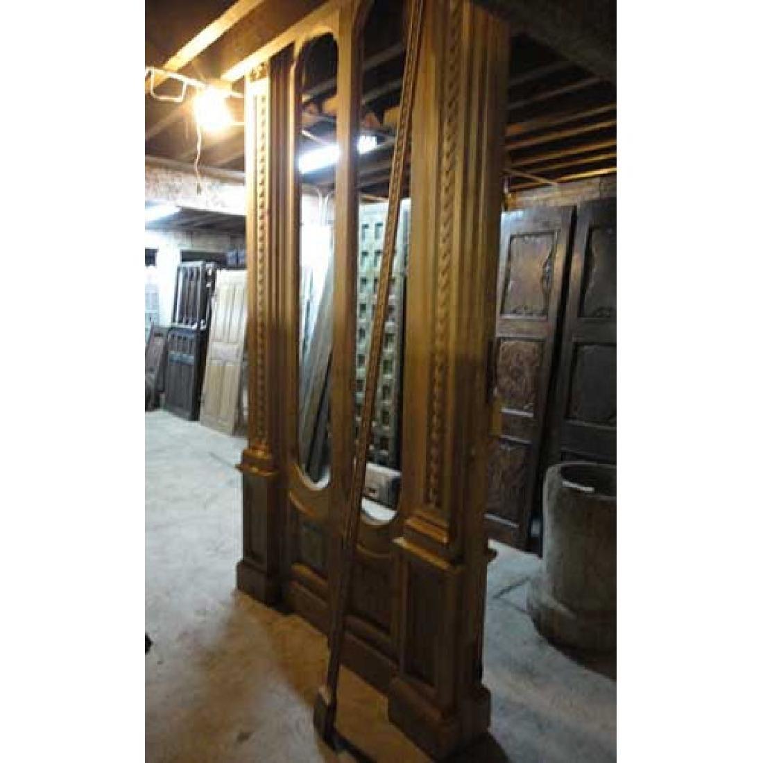 Pair French Louis XVI Style Pine Door Sidelight Windows