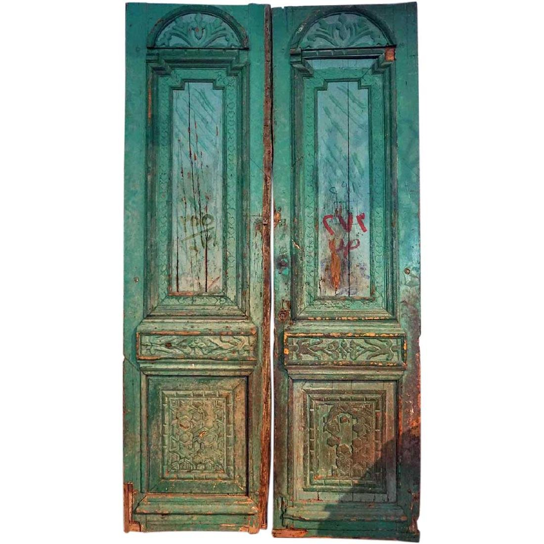 French Colonial Green Painted Pine Double Door