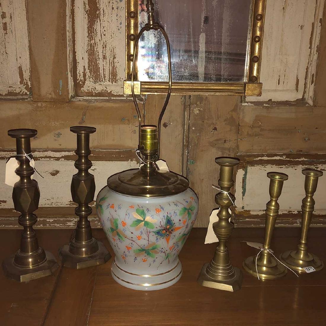 5 Brass Candlesticks, Opaline Glass Table Lamp