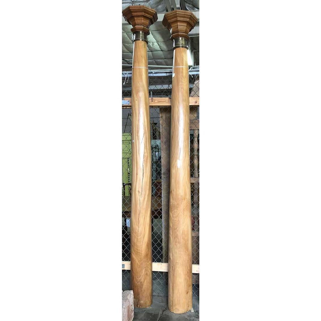 Pair Rare Indian Solid Satinwood Pillars