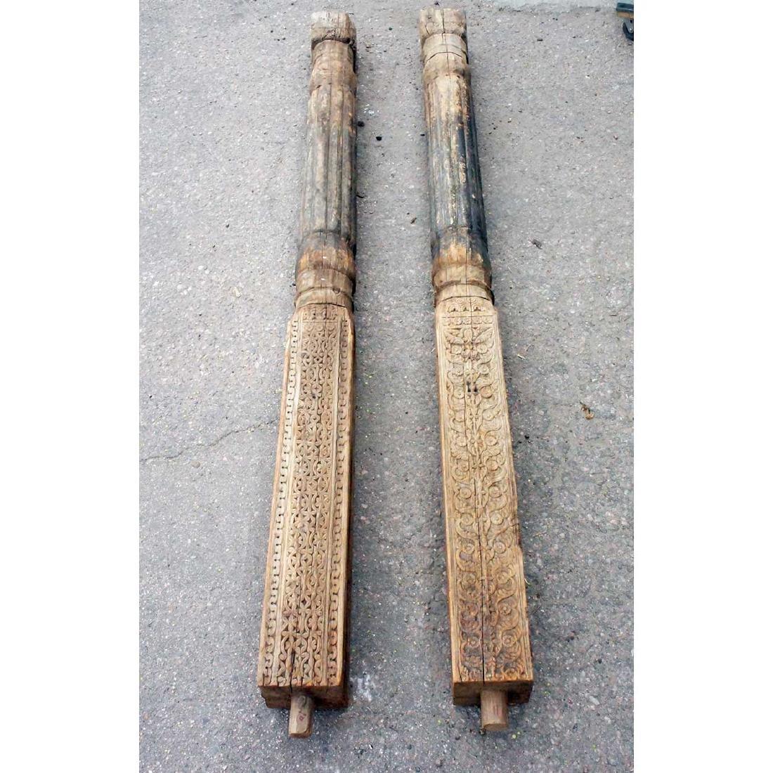 Pair of Afghan Himilayan Pine Pillars