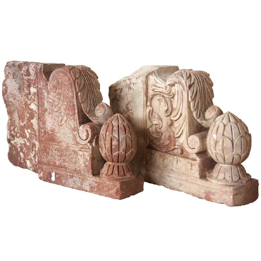 Pair of Indian Red Sandstone Architectural Brackets