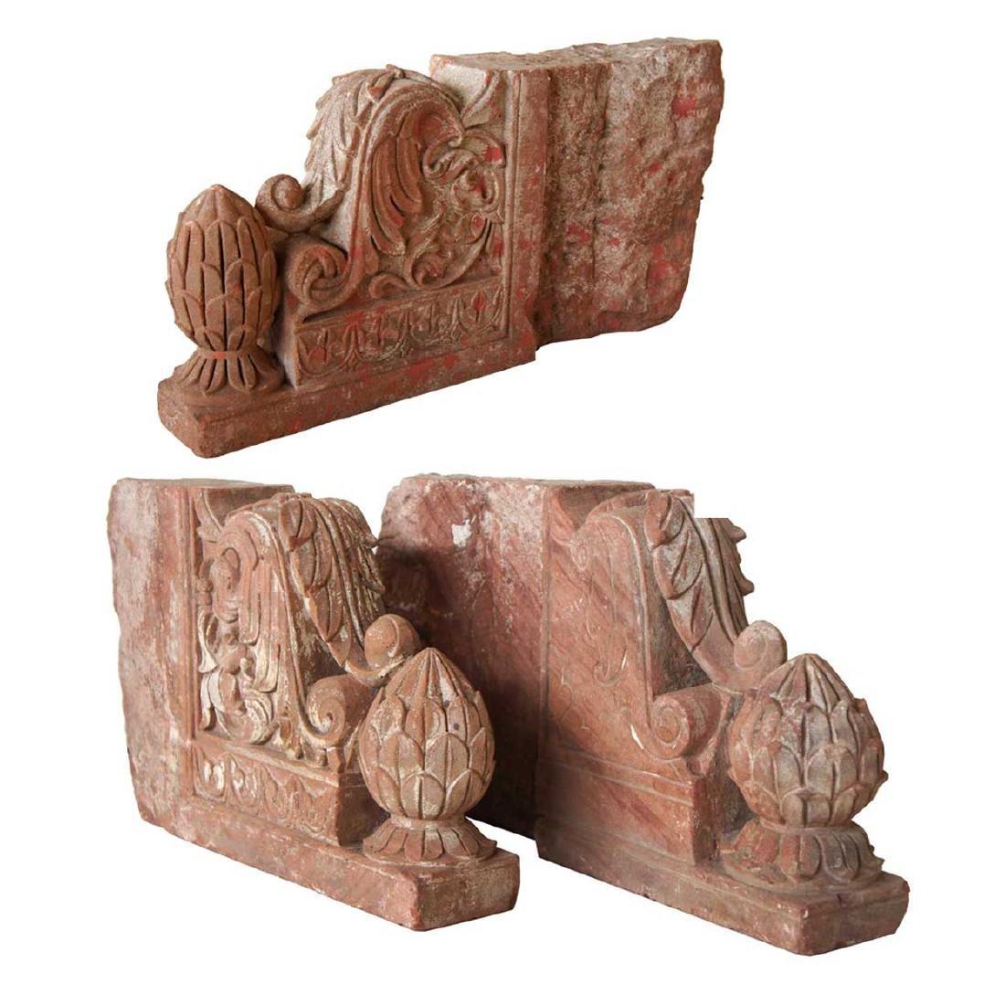 Three Indian Red Sandstone Architectural Brackets