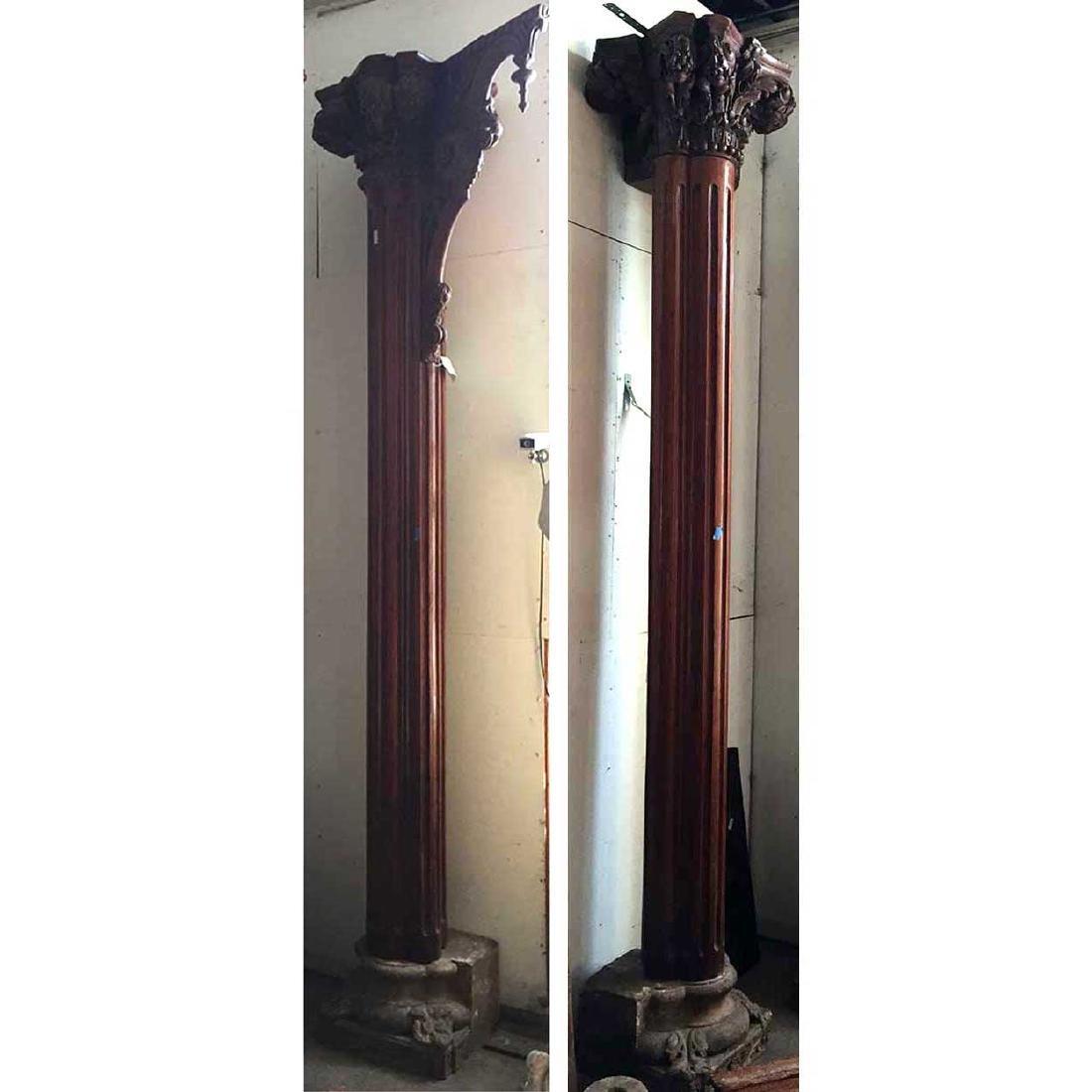 Indian Teak Haveli 3-Sided Pillar and Bracket