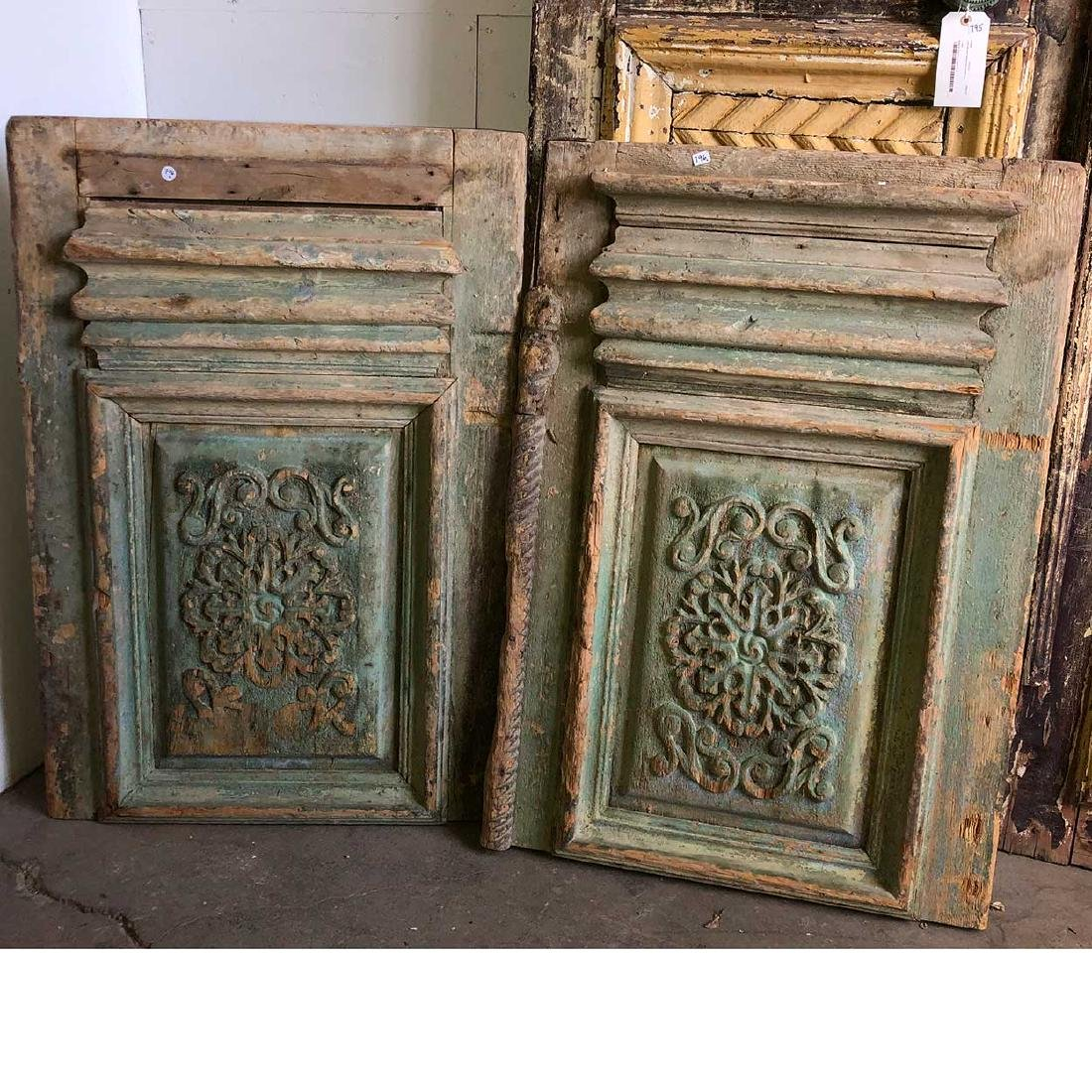 Pair Painted and Carved Pine Architectural Panels