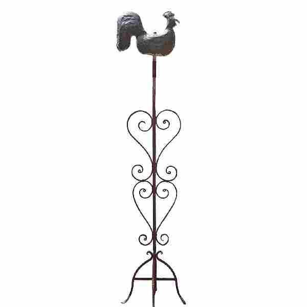 Folk Art Copper Rooster Weathervane & Wrought Iron Post