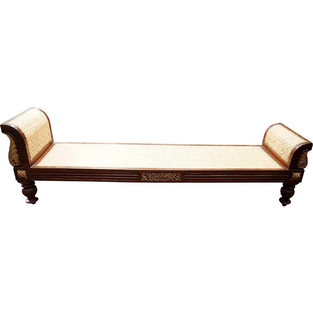 Anglo Indian Neoclassical Caned Rosewood Daybed Bench