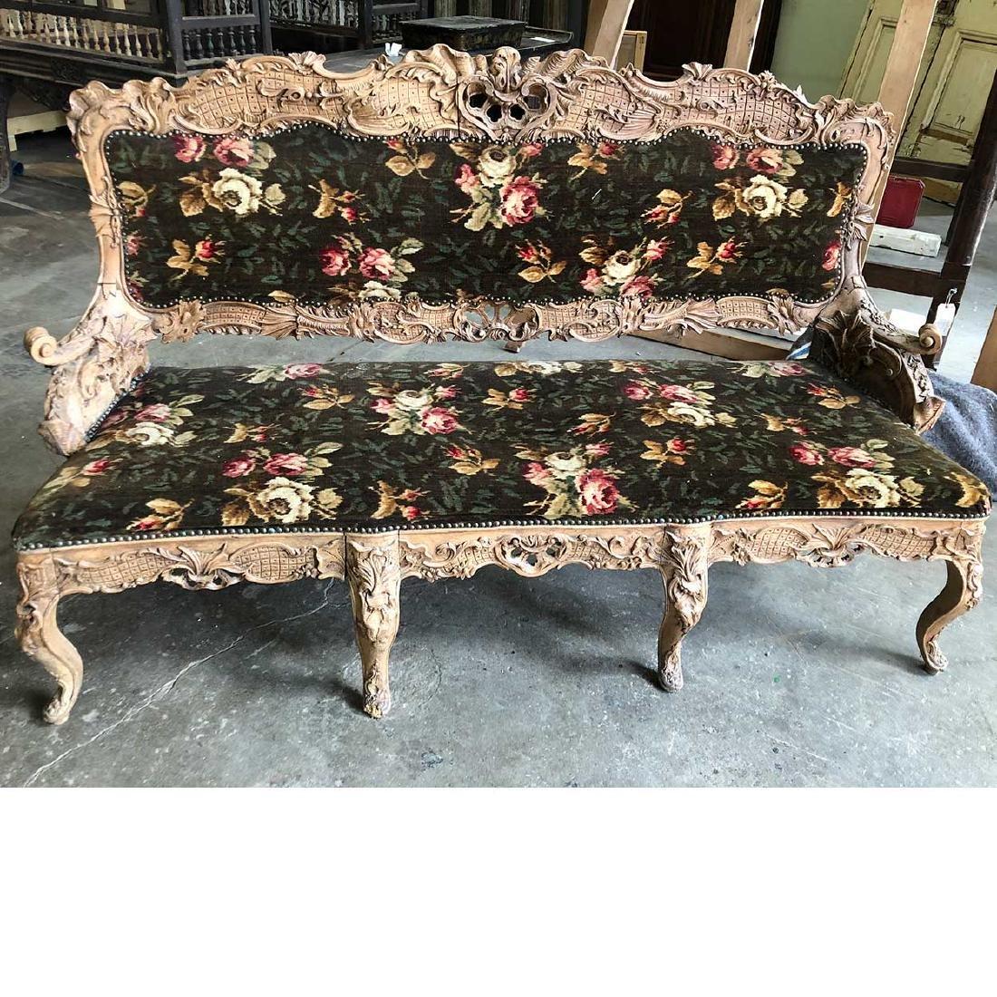 Danish Rococo Revival Upholstered Settee