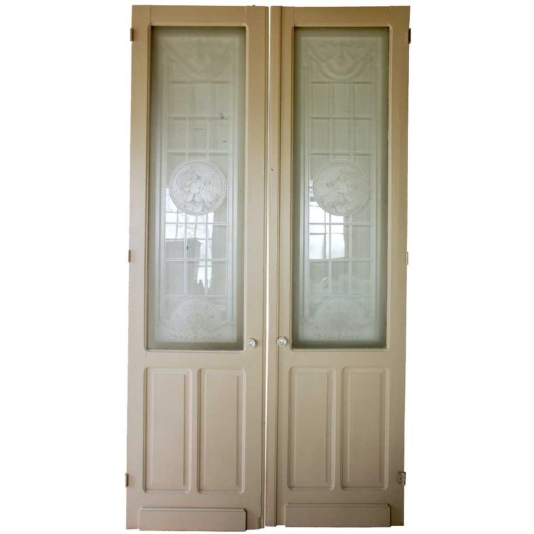 French Art Nouveau Etched Glass and Painted Double Door