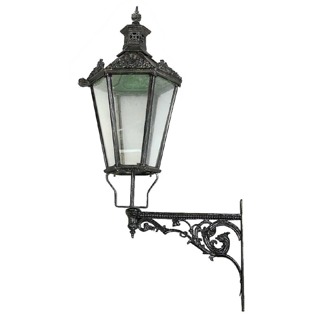 Large English Victorian Painted Iron Bracket Lantern