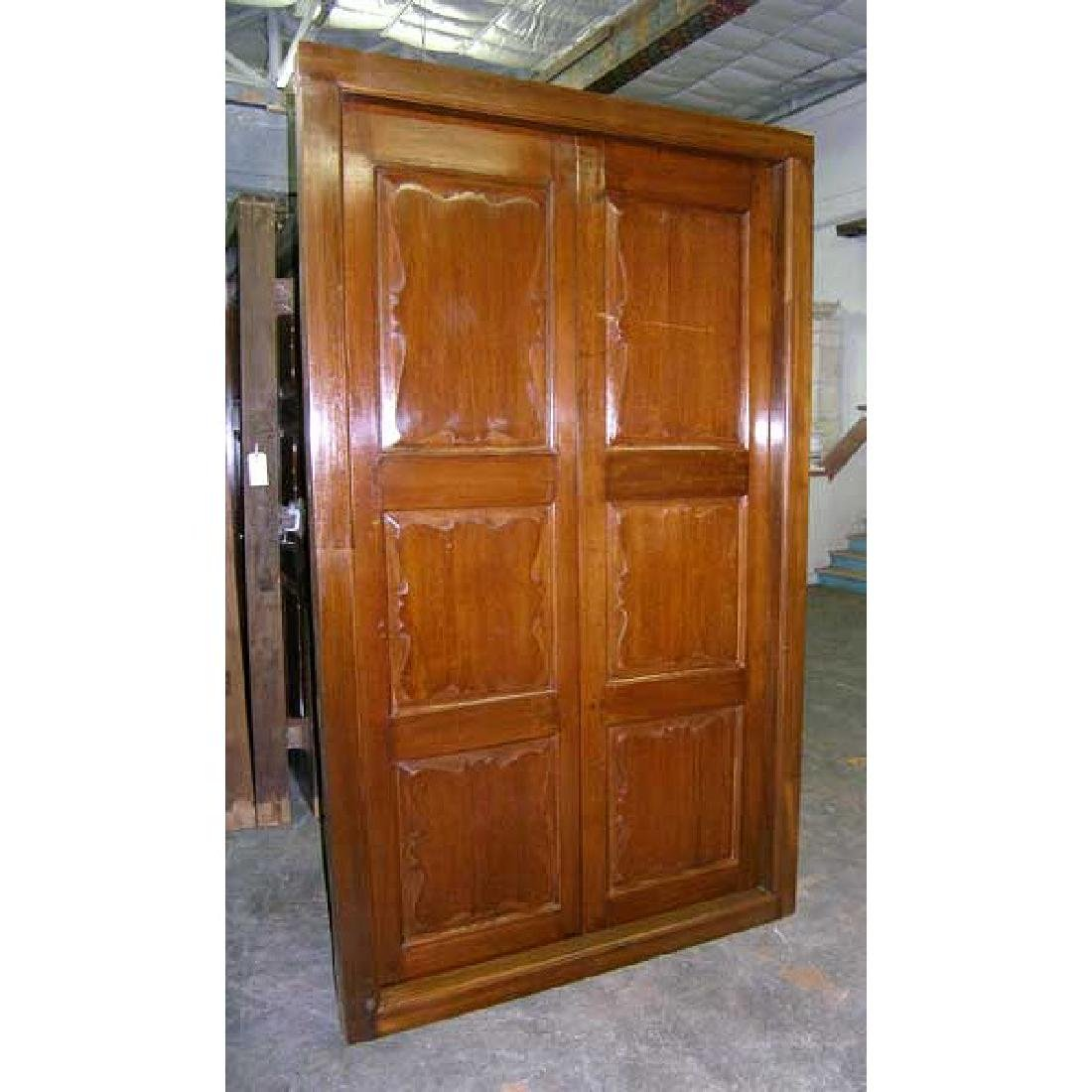 Large Anglo Indian Teak Interior Double Door with Frame