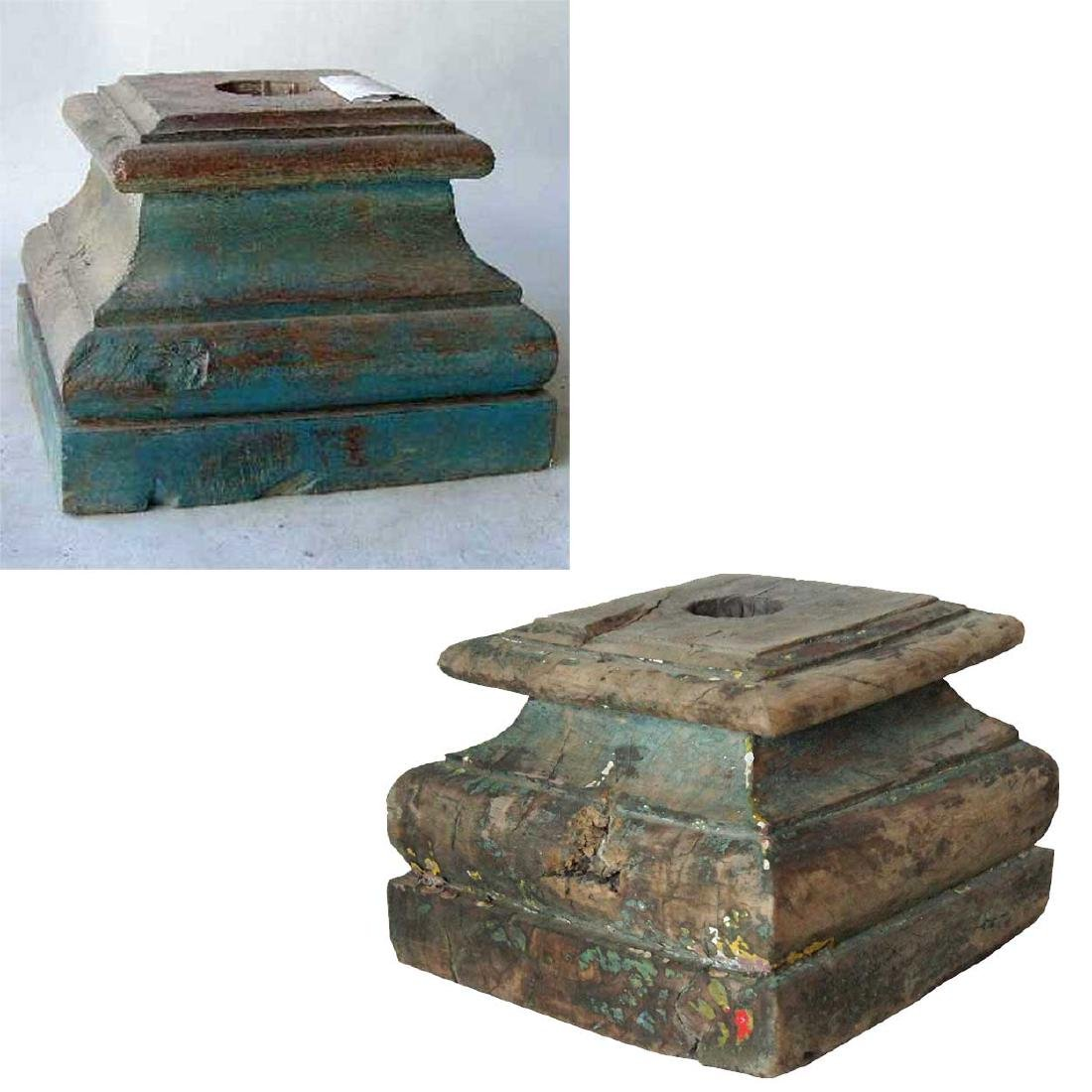 2 Anglo Indian Painted Teak Pillar Bases