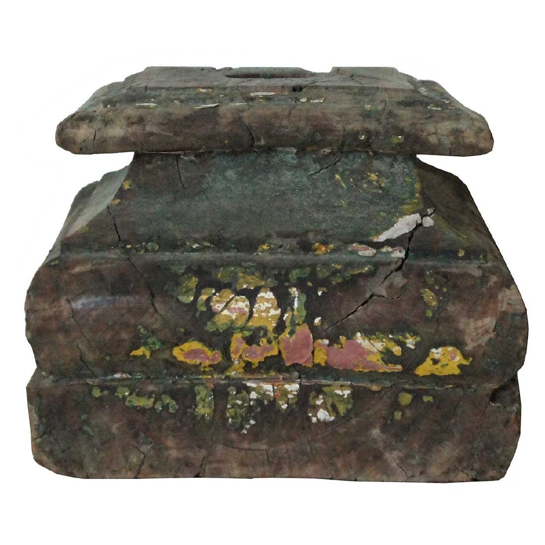 2 Anglo Indian Painted Teak Pillar Bases - 3