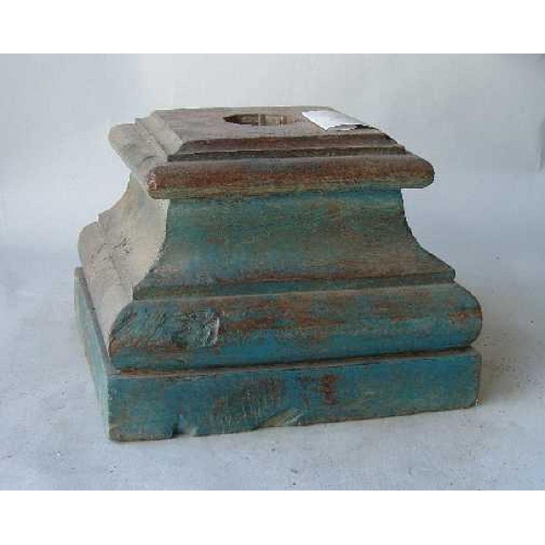 2 Anglo Indian Painted Teak Pillar Bases - 5