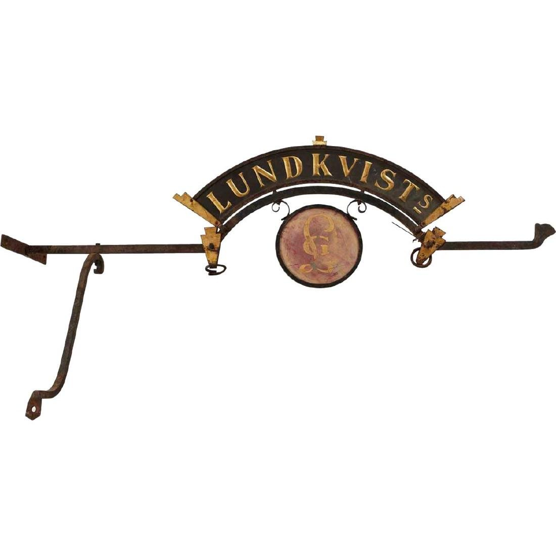Danish Painted Metal Lundkvists Store Bracket Sign