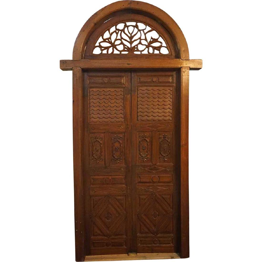 Indo-Portuguese Teak Double Door with Frame