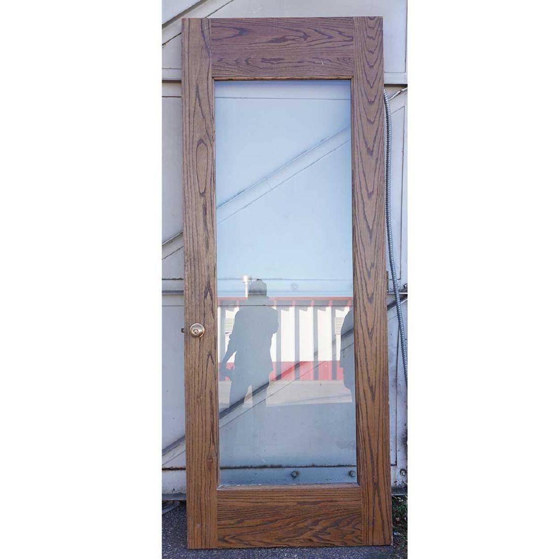 Vintage American Oak Framed Glass Single Door