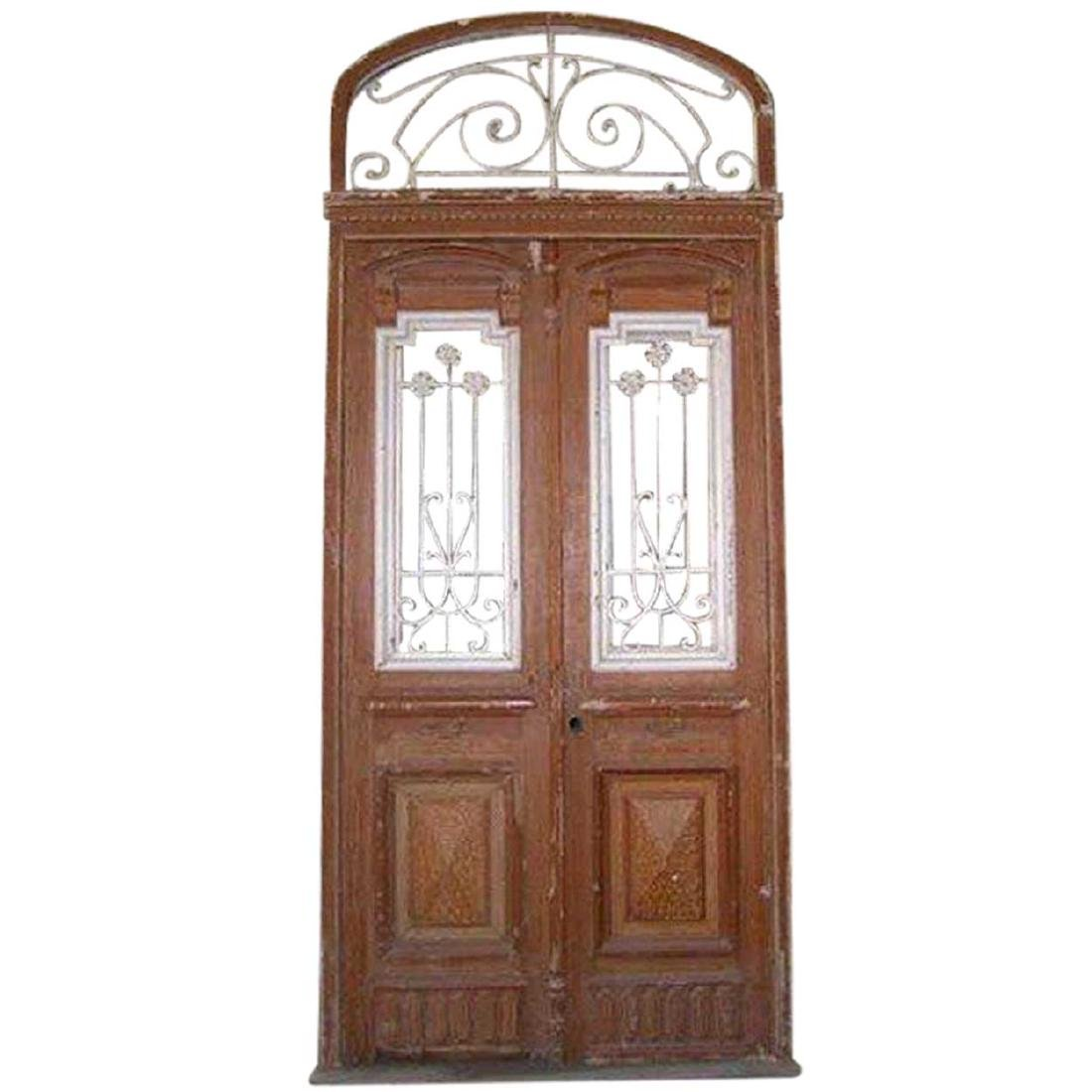 French Colonial Wrought Iron & Painted Pine Door
